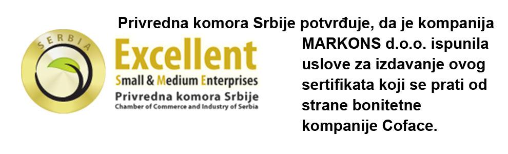 Markons sertifikat Privredne komore Srbije